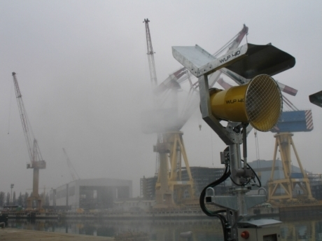 dust suppression in material handling in port